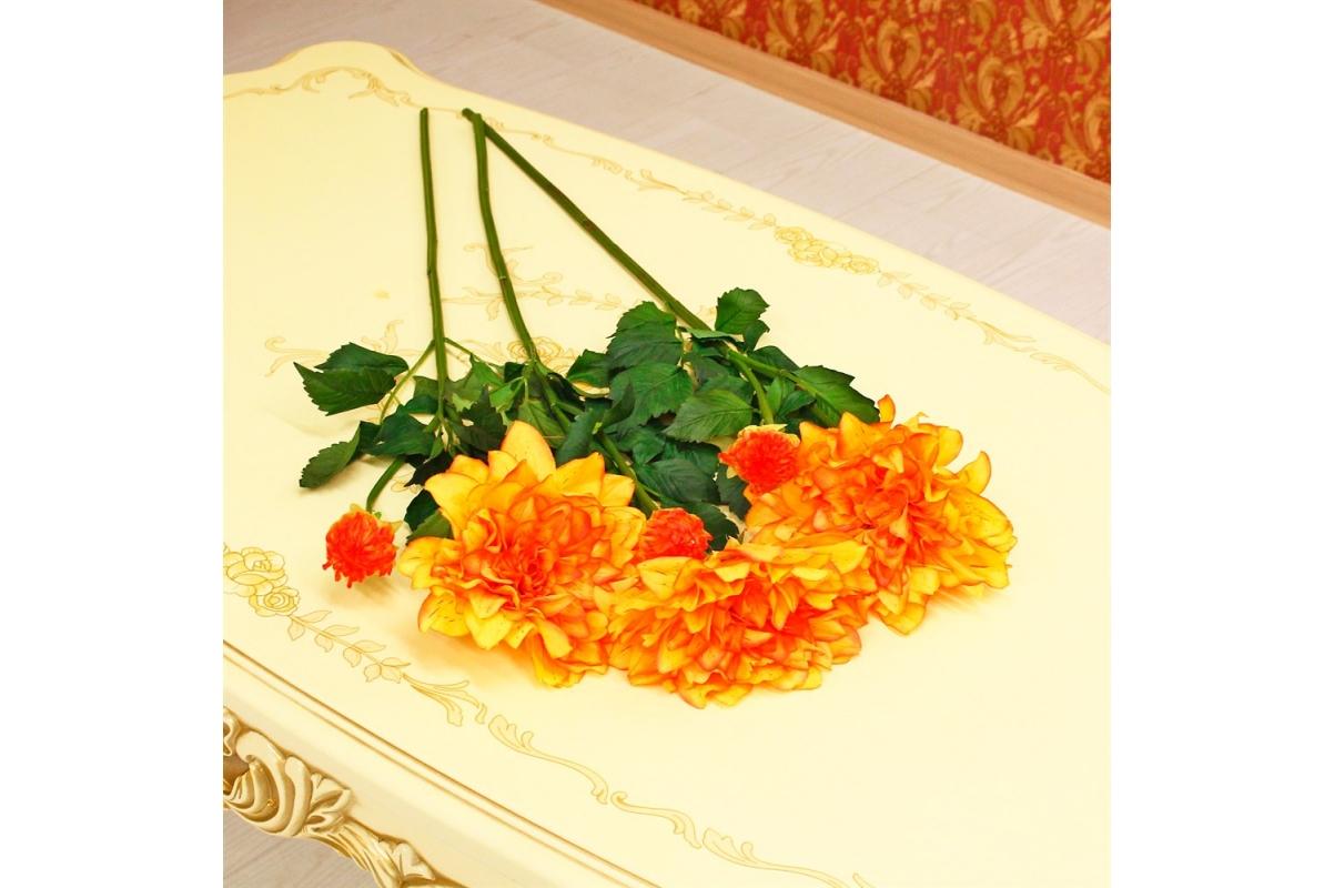 Георгин искусственный оранжево-желтый 88 см - Фото 2