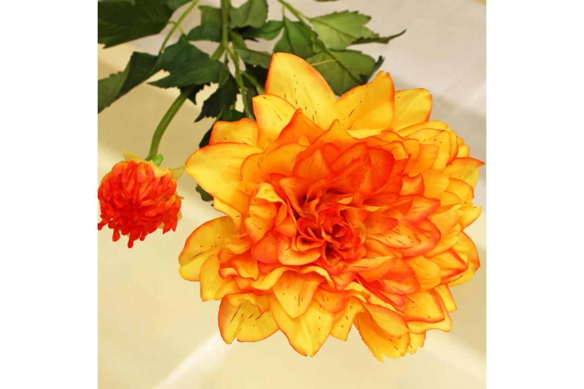 Георгин искусственный оранжево-желтый 88 см - Фото 3