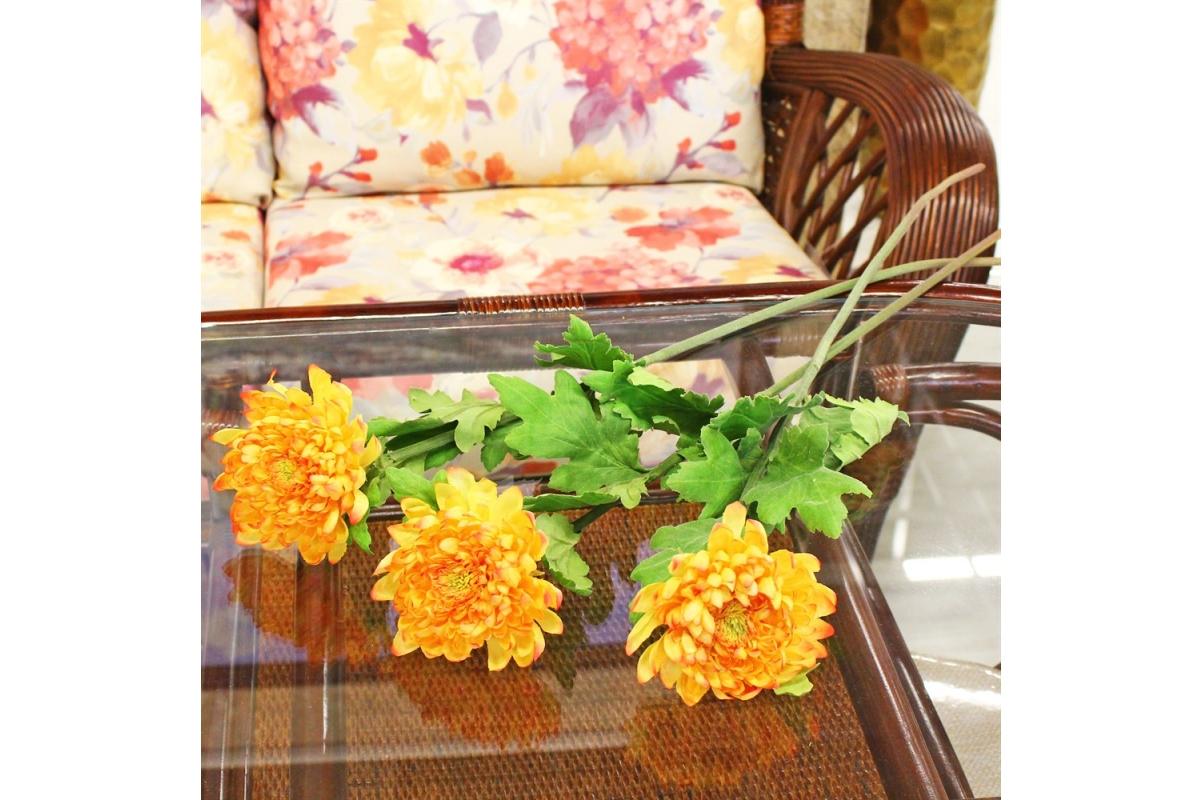 Хризантема искусственная оранжевая 70 см - Фото 2