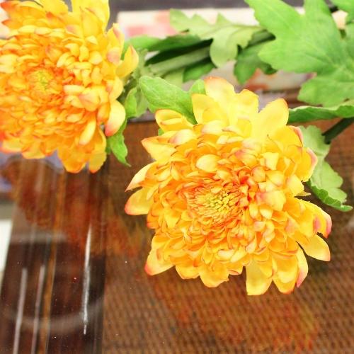 Хризантема искусственная оранжевая 70 см - Фото 3