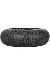 Кашпо capi nature stone bowl round i black d35 h10 см