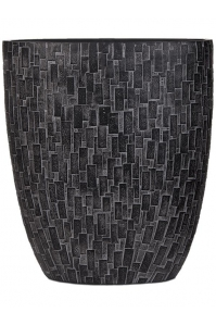 Кашпо capi nature stone oval planter iii black l33 w15 h36 см