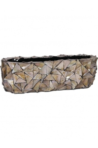 Кашпо shell table top planter brown mother of pearl l60 w15 h18 см