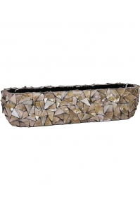 Кашпо shell table top planter brown mother of pearl l90 w20 h20 см