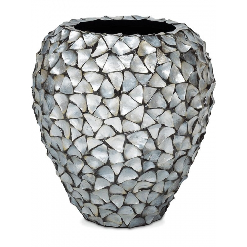 Кашпо shell planter mother of pearl silver-blue d74 h80 см