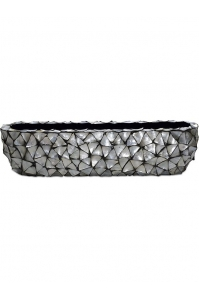 Кашпо shell table top planter mother of pearl silver-blue l90 w20 h20 см
