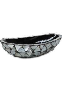 Кашпо shell boat mother of pearl silver-blue l46 w20 h13 см