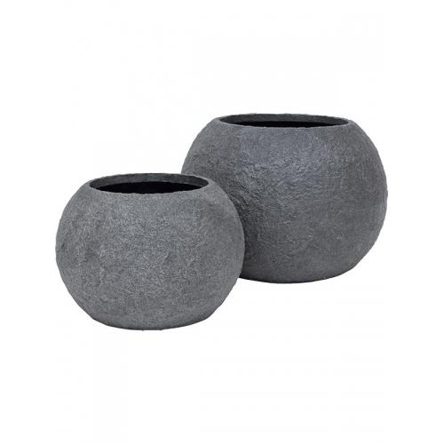 Кашпо rocky bowl smoke-granite d60 h34 см