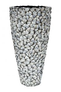 Кашпо shell planter mother of pearl silver-blue d74 h140 см