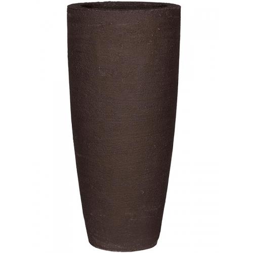 Кашпо fiberstone earth dax l dark brown d37 h80 см