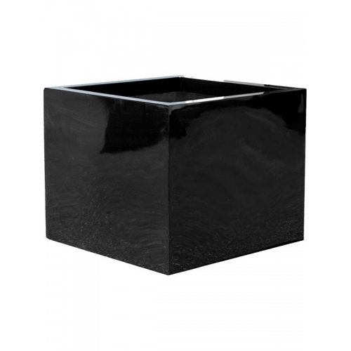 Кашпо fiberstone glossy black block xl l60 w60 h60 см