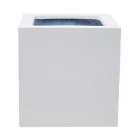 Кашпо fiberstone glossy white block s l30 w30 h30 см