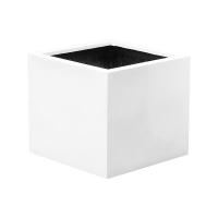 Кашпо fiberstone glossy white block xl l60 w60 h60 см