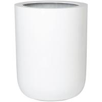 Кашпо fiberstone glossy white dice xl d46 h60 см