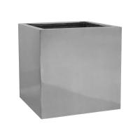 Кашпо fiberstone platinum silver block l l50 w50 h50 см