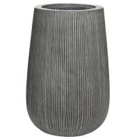 Кашпо fiberstone ridged dark grey patt high s d29 h43 см