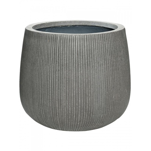 Кашпо fiberstone ridged dark grey pax m d40 h36 см