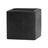 Кашпо fiberstone fleur black s l15 w15 h15 см