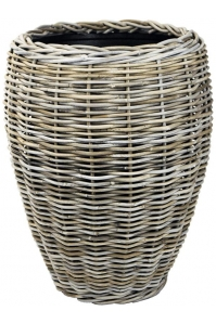 Кашпо drypot rattan vase grey d48 h62 см