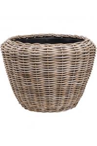 Кашпо drypot rattan round grey outdoor d80 h62 см
