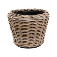 Кашпо drypot rattan round grey d36 h28 см