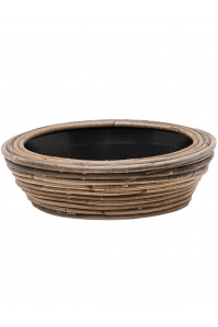 Кашпо drypot rattan stripe round grey d30 h12 см