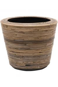 Кашпо drypot rattan stripe round grey d35 h30 см