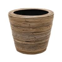 Кашпо drypot rattan stripe round grey d38 h36 см