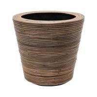Кашпо drypot rattan stripe round grey d42 h39 см
