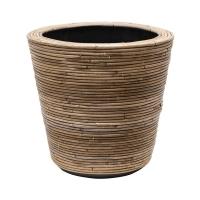 Кашпо drypot rattan stripe round, grey d45 h43 см