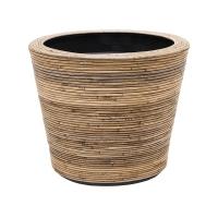 Кашпо drypot rattan stripe round grey d53 h49 см