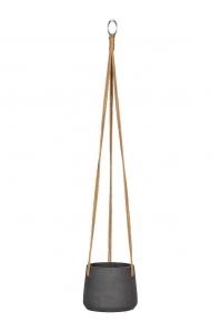 Кашпо подвесное rough patt (hanging) s black washed d14 h11 см