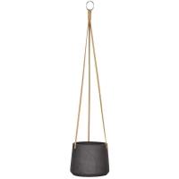 Кашпо подвесное rough patt (hanging) m black washed d17 h14 см