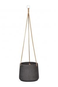 Кашпо подвесное rough patt (hanging) xl black washed d23 h20 см