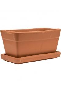 Кашпо terra cotta set balcony box + поддон d30 w16 h15 см
