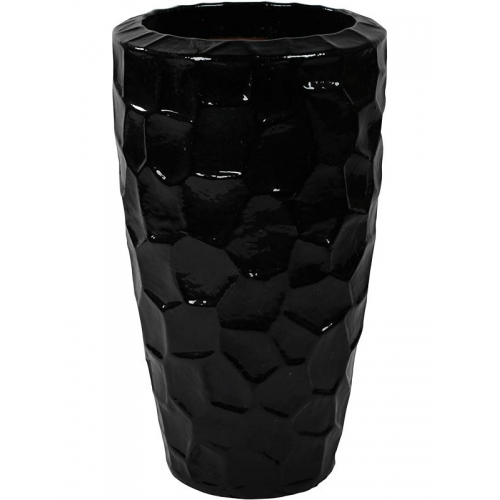Кашпо black shiny partner relief (cascara) d52 h95 см