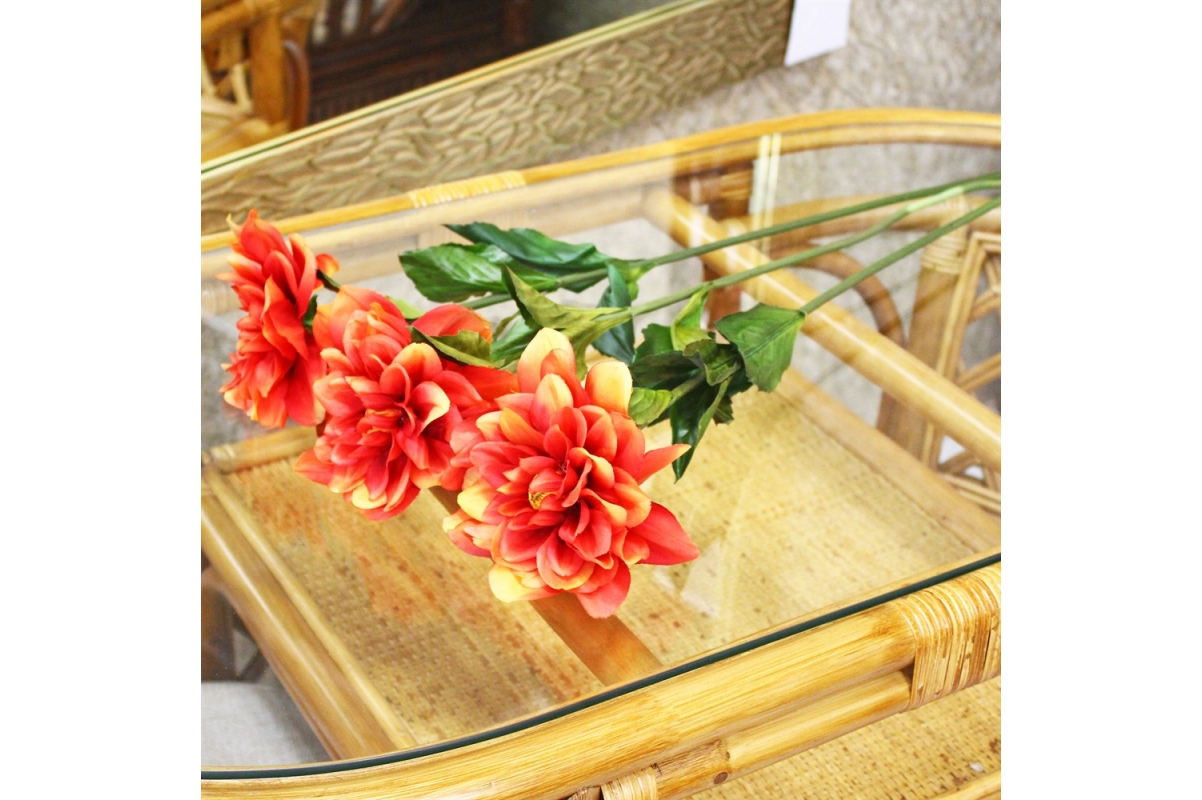 Георгин искусственный красно-желтый 68 см - Фото 2