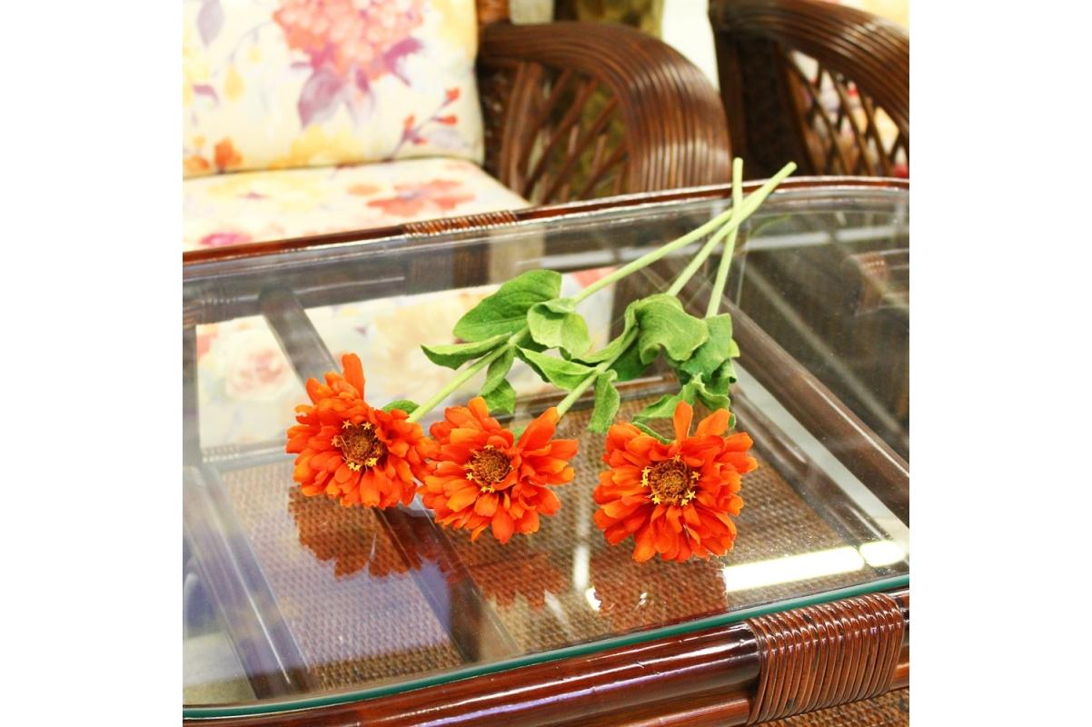 Циния искусственная оранжевая 55 см - Фото 2