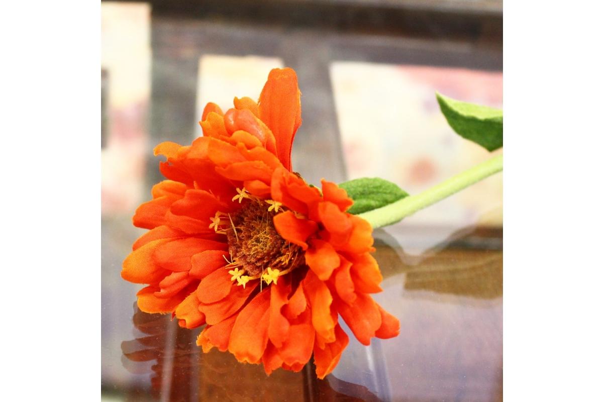 Циния искусственная оранжевая 55 см - Фото 3