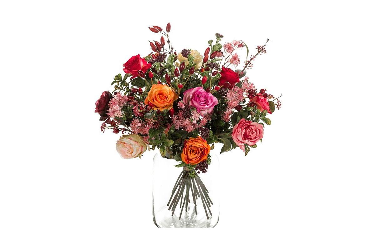 Букет искусственный flame roses 23 ветви (без вазы) d45 h50 см