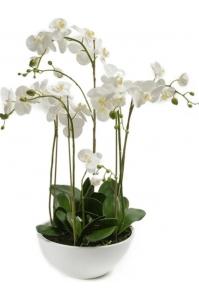 Орхидея фаленопсис в белом горшке искусственная h80 см