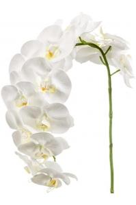 Орхидея фаленопсис изогнутая ветвь белая искусственная h110 см