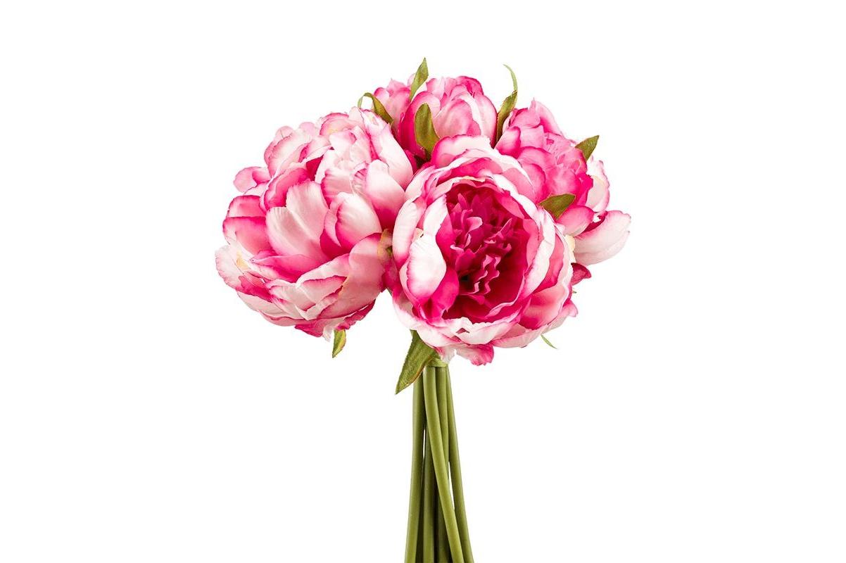 Букет из пионов ярко-розовых искусственных (8 штук) h24 см