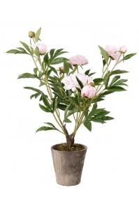 Пион розовый в горшке искусственный h75 см