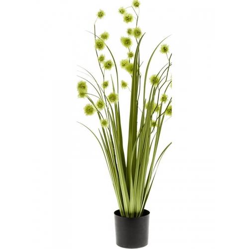 Трава с зелёными цветами искусственная h85 см