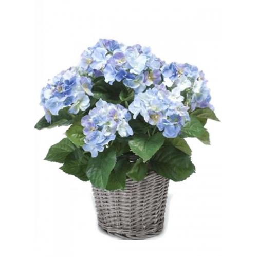 Гортензия голубая в плетёной корзине искусственная d20 см