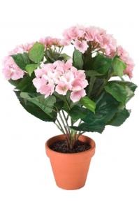 Гортензия розовая в терракотовом горшке искусственная d11 см