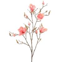 Магнолия ветвь с розовыми цветами искусственная h105 см