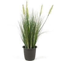 Трава зеленая в пластиковом горшке искусственная h45 см