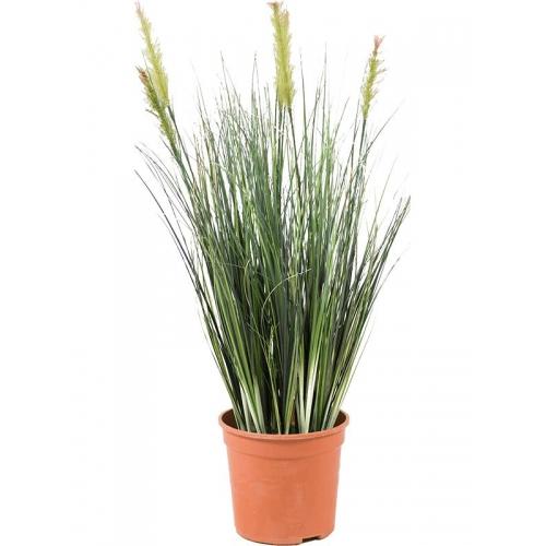 Трава зеленая в пластиковом горшке искусственная h55 d12 см